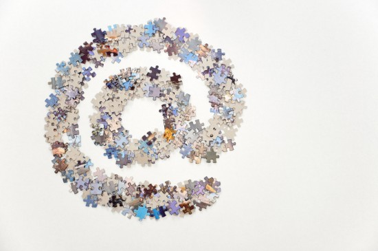 @ sign made of puzzle pieces on white background